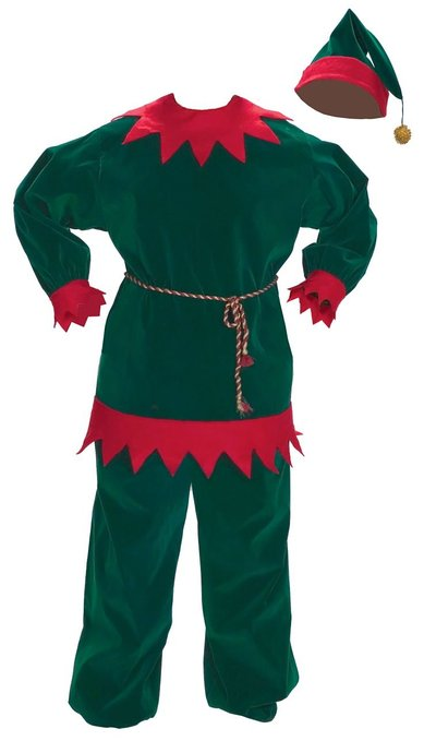 Red and Green Velvet Elf Suit