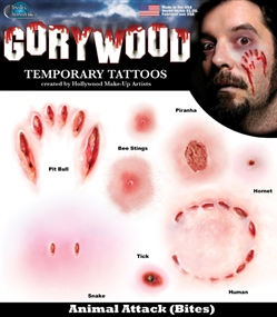 Gorywood Animal Attack Temporary Special FX Tattoo