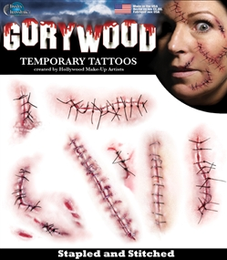 Gorrywood Stapled and Stitched Temproary Special FX Tattoo