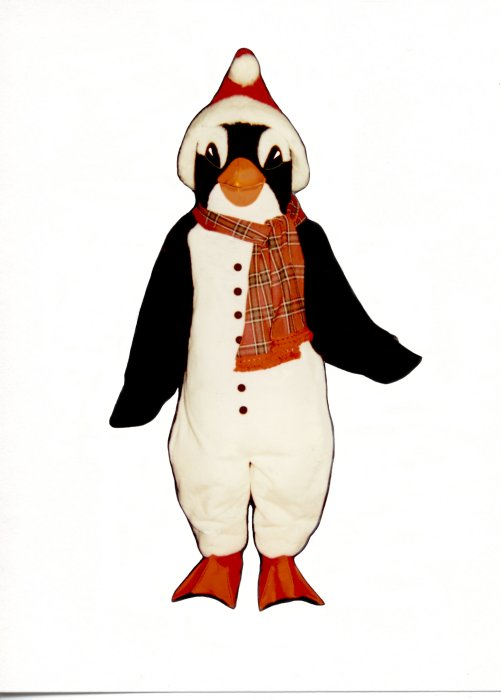 Christmas Penguin With Scarf and Santa Hat