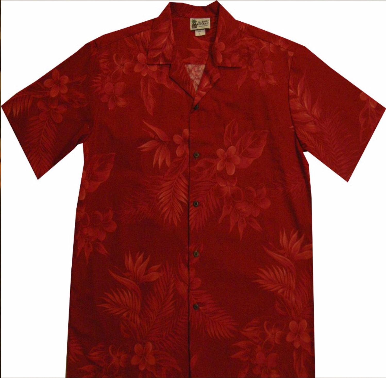Red Floral Palm Leaf Hawaiian Shirt