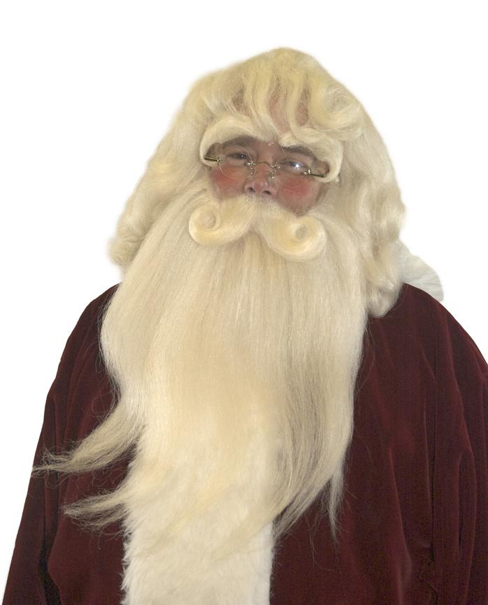 Santa Wig, Beard & Mustache - Straight with Yak Lace Mustache