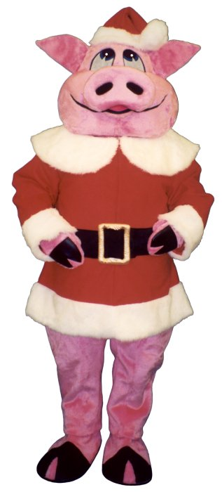 Hog With Santa Coat and Hat