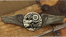 Steampunk Gear and Wings Pin