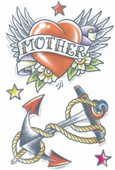 1950's Mother's Heart and Anchor Temporary Tattoo